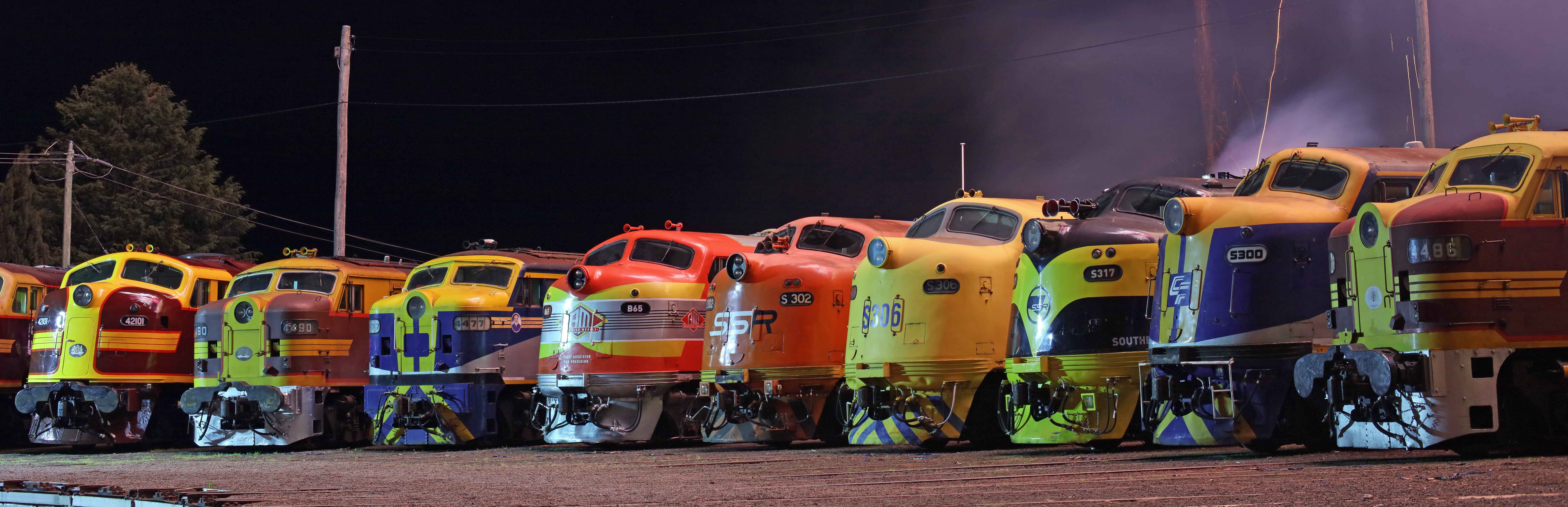 During the night of 1 October 2016 the Streamliners 2016 event in Goulburn (Australia) the following bulldog noses were amongst others enjoying some attention (from left to right): Lachlan Valley Railway 4204;The Heritage Locomotive Company 42101;Transport Heritage NSW 4490;Qube 4477;SSR B65;SSR S302;PN S306;SSR S317;CF Rail Services S300;Lachlan Alco Group 4486.